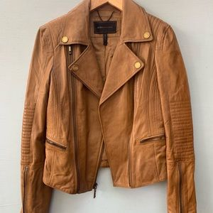 BCBG Max Azria Leather Moto Jacket in Luggage